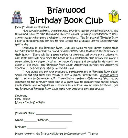 Briarwood Birthday Book Club