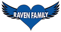 Raven Family logo with heart in middle of wings