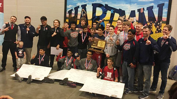 group photo of the Olathe North wrestling team