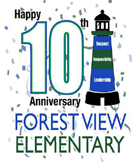 Forest View anniversary logo with lighthouse